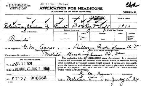 Military Headstone Application for Elisha Robertson