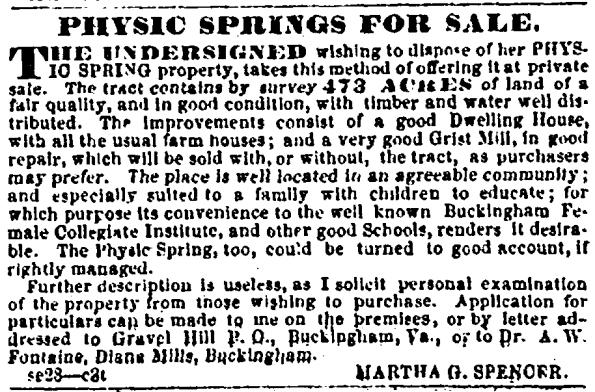 Slate River Ramblings_Physic Springs_1856_Sale